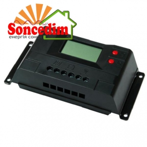 Контроллер 30А 12В/24В с дисплеем + USB гнездо (Модель-CM30D), JUTA